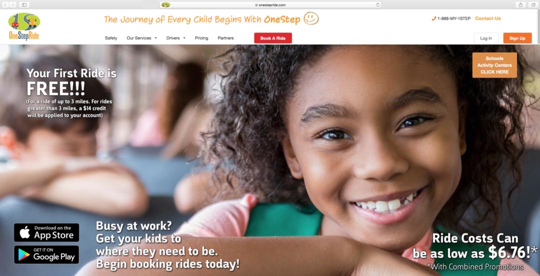 """OneStepRide web site: """"Uber for Kids"""""""